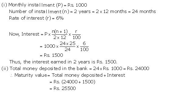 Selina Solutions Icse Class 10 Mathematics Chapter - Banking Recurring Deposit Accounts