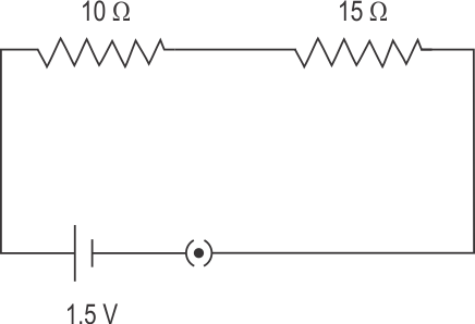 draw a schematic diagram of a circuit consisting of a cell of 1 5 v, 10 �  resistor and 15 � resistors and a plug key all connected in series