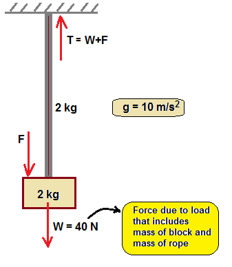 a uniform rope of mass 2kg which can tolerate max tension