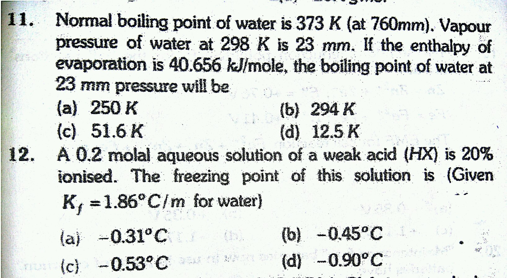 depression of freezing point Questions and Answers - TopperLearning