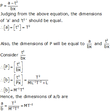 the dimensions of a b in the equation p a t2 bx where p is