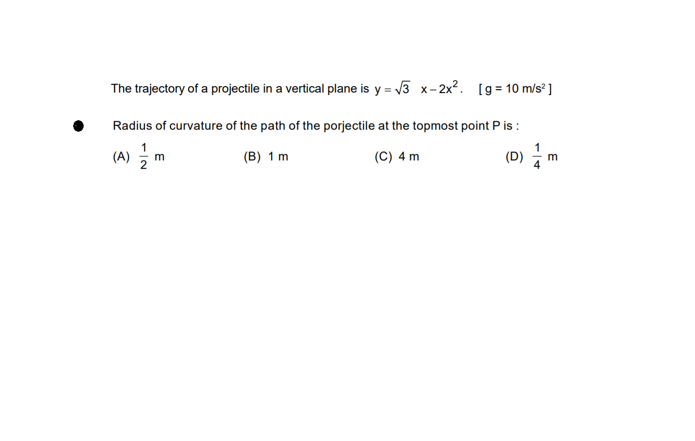projectile motion Questions and Answers - TopperLearning