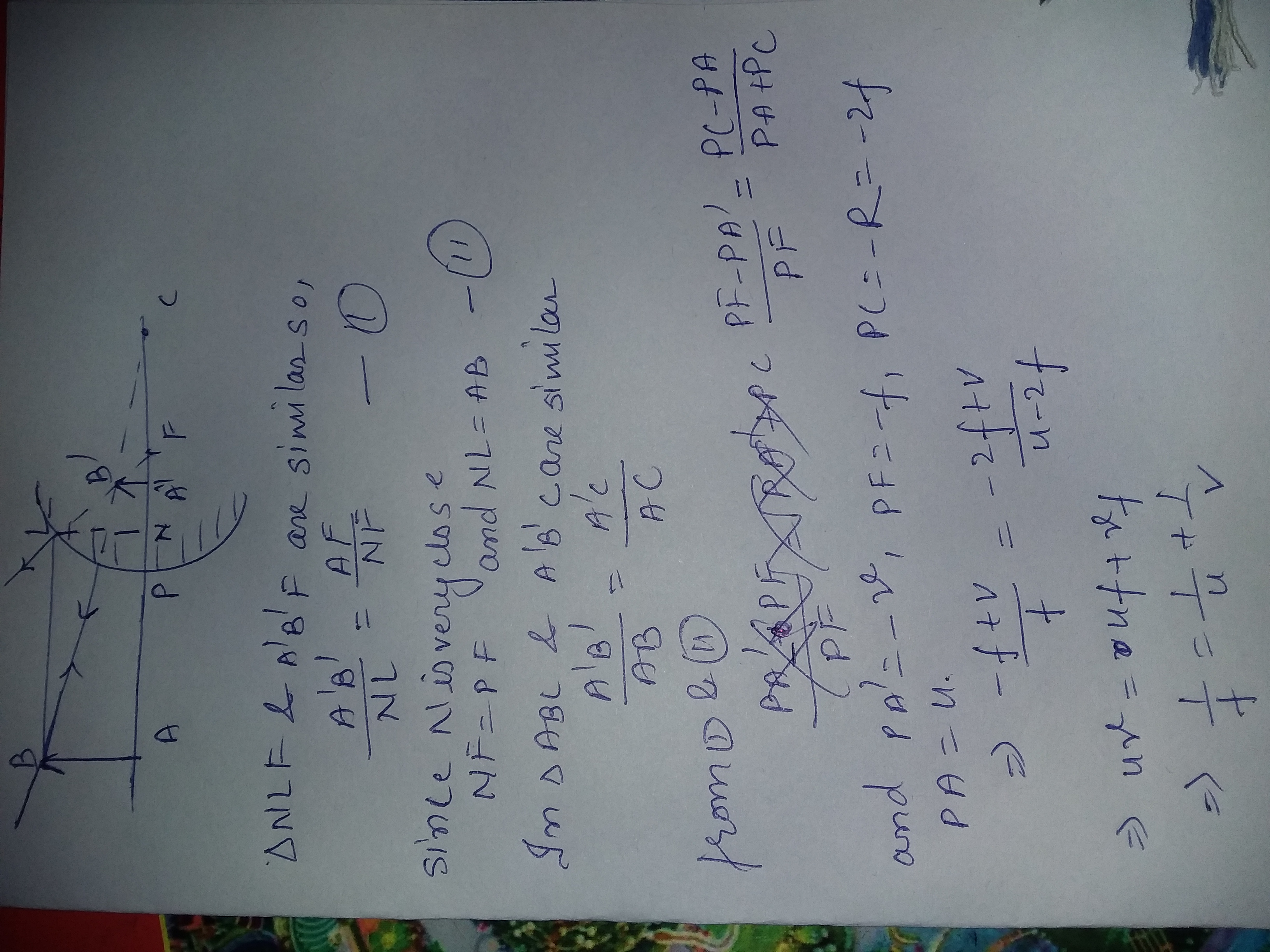 derive mirror formula for concex mirror snbw73ss -Physics
