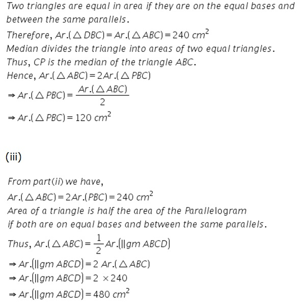 Selina Solutions Icse Class 9 Mathematics Chapter - Area Theorems Proof And Use
