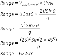 R a n g e equals V subscript h o r i z o n t a l end subscript cross times t i m e R a n g e equals U C o s theta cross times fraction numerator 2 U S i n theta over denominator g end fraction R a n g e equals fraction numerator U squared S i n 2 theta over denominator g end fraction R a n g e equals fraction numerator open parentheses 25 close parentheses squared S i n open parentheses 2 cross times 45 to the power of 0 close parentheses over denominator g end fraction R a n g e equals 62.5 m