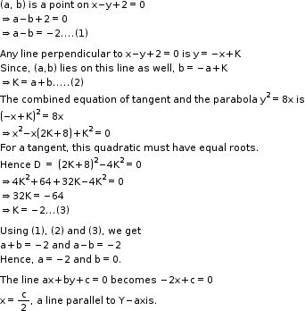 begin mathsize 11px style left parenthesis straight a comma space straight b right parenthesis space is space straight a space point space on space straight x minus straight y plus 2 equals 0 rightwards double arrow straight a minus straight b plus 2 equals 0 rightwards double arrow straight a minus straight b equals negative 2.... left parenthesis 1 right parenthesis  Any space line space perpendicular space to space straight x minus straight y plus 2 equals 0 space is space straight y equals negative straight x plus straight K Since comma space left parenthesis straight a comma straight b right parenthesis space lies space on space this space line space as space well comma space straight b equals negative straight a plus straight K rightwards double arrow straight K equals straight a plus straight b..... left parenthesis 2 right parenthesis The space combined space equation space of space tangent space and space the space parabola space straight y squared equals 8 straight x space is open parentheses negative straight x plus straight K close parentheses squared equals 8 straight x rightwards double arrow straight x squared minus straight x open parentheses 2 straight K plus 8 close parentheses plus straight K squared equals 0 For space straight a space tangent comma space this space quadratic space must space have space equal space roots. Hence space straight D space equals space open parentheses 2 straight K plus 8 close parentheses squared minus 4 straight K squared equals 0 rightwards double arrow 4 straight K squared plus 64 plus 32 straight K minus 4 straight K squared equals 0 rightwards double arrow 32 straight K equals negative 64 rightwards double arrow straight K equals negative 2... left parenthesis 3 right parenthesis  Using space left parenthesis 1 right parenthesis comma space left parenthesis 2 right parenthesis space and space left parenthesis 3 right parenthesis comma space we space get straight a plus straight b equals negative 2 space and space 
