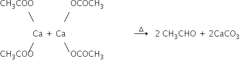 CH subscript 3 COO space space space space space space space space space space space space space space space space space space OCOCH subscript 3 space space space space space space space space space space space space space space down diagonal strike blank end strike space space space space space space space space space space space space space space space up diagonal strike blank end strike space space space space space space space space space space space space space space space space Ca space plus space Ca space space space space space space space space space space space space space space space space space space space space space space space space space space space space space space space space space rightwards arrow with increment on top space space space 2 space CH subscript 3 CHO space plus space 2 CaCO subscript 3 space space space space space space space space space space space space space space up diagonal strike blank end strike space space space space space space space space space space space space space space space down diagonal strike blank end strike CH subscript 3 COO space space space space space space space space space space space space space space space space space space OCOCH subscript 3